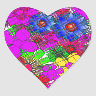Beautiful colorful amazing floral pattern design a heart sticker