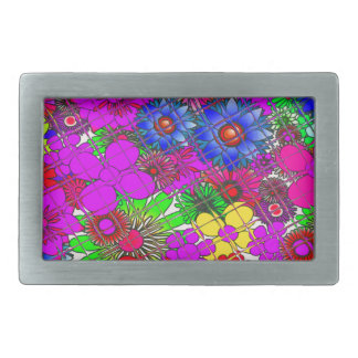 Beautiful colorful amazing floral pattern design a rectangular belt buckle