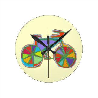 beautiful colorful art bike round clock