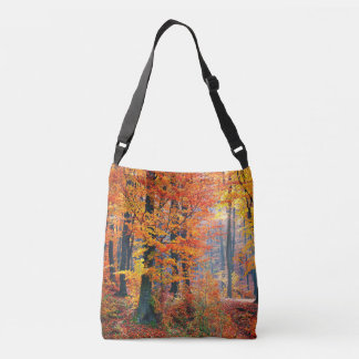 Beautiful colorful autumn fall forest sunbeams crossbody bag