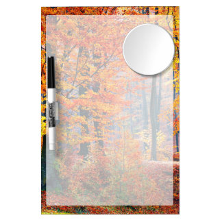 Beautiful colorful autumn fall forest sunbeams dry erase board with mirror
