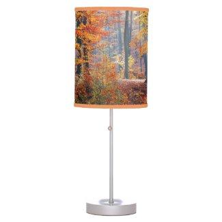 Beautiful colorful autumn forest sunbeams lamp shade
