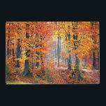 "Beautiful colorful autumn forest sunbeams placemat<br><div class=""desc"">Beautiful colorful autumn forest with sunbeams landscape Photography.   Visit my Shop:  http://www.zazzle.com/wonderfulpictures*</div>"