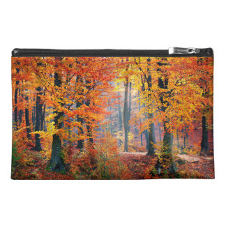 Beautiful colorful autumn forest sunbeams travel accessory bag