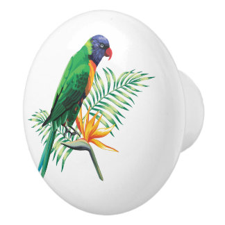Beautiful Colorful Bird And Flowers Ceramic Knob