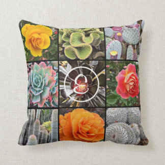 Beautiful, colorful cacti and roses close-up photo throw pillow
