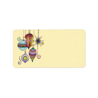 Beautiful Colorful Christmas Ornaments Hanging Custom Address Label