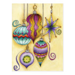 Beautiful Colorful Christmas Ornaments Hanging Postcard