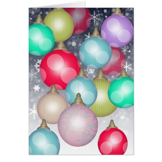 Beautiful Colorful Christmas Ornaments in the Snow Card