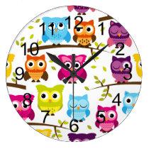 Beautiful Colorful Custom Owl Large Clock