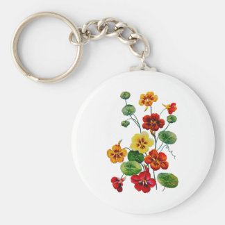 Beautiful Colorful Embroidered Nasturtiums Basic Round Button Keychain
