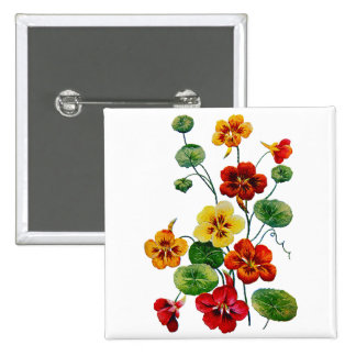 Beautiful Colorful Embroidered Nasturtiums Button
