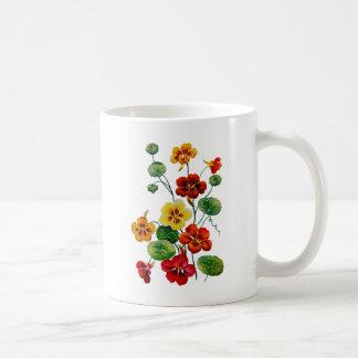Beautiful Colorful Embroidered Nasturtiums Coffee Mug