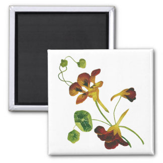 Beautiful Colorful Embroidered Nasturtiums Magnet