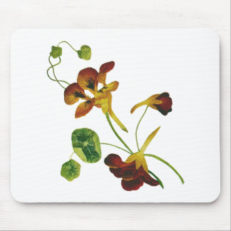 Beautiful Colorful Embroidered Nasturtiums Mouse Pad