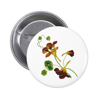 Beautiful Colorful Embroidered Nasturtiums Pinback Button