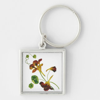 Beautiful Colorful Embroidered Nasturtiums Silver-Colored Square Keychain