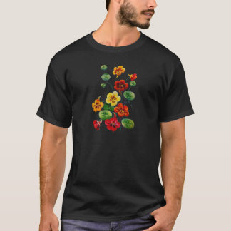 Beautiful Colorful Embroidered Nasturtiums T-Shirt