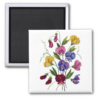 Beautiful, Colorful, Embroidered Sweet Peas 2 Inch Square Magnet
