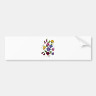 Beautiful, Colorful, Embroidered Sweet Peas Bumper Sticker