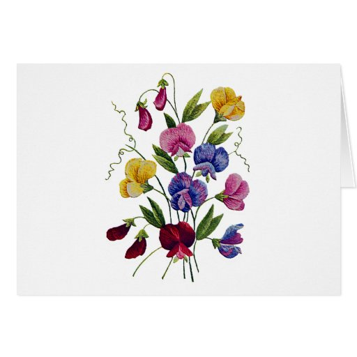 Beautiful, Colorful, Embroidered Sweet Peas Card