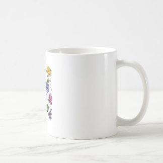 Beautiful, Colorful, Embroidered Sweet Peas Coffee Mug