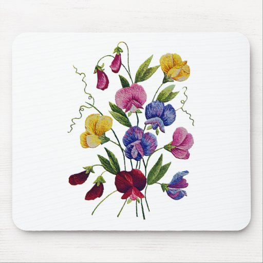 Beautiful, Colorful, Embroidered Sweet Peas Mouse Pad