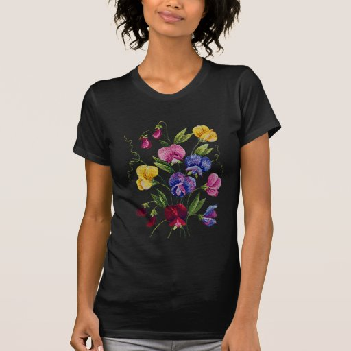 Beautiful, Colorful, Embroidered Sweet Peas T Shirt