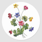 Beautiful Colorful Embroidered Wood Sorrel Classic Round Sticker