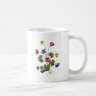 Beautiful Colorful Embroidered Wood Sorrel Coffee Mug
