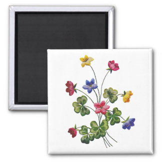 Beautiful Colorful Embroidered Wood Sorrel Magnet