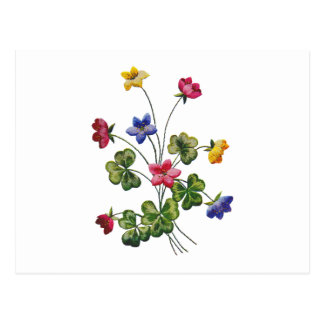 Beautiful Colorful Embroidered Wood Sorrel Postcard