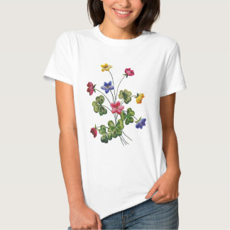 Beautiful Colorful Embroidered Wood Sorrel Tee Shirt