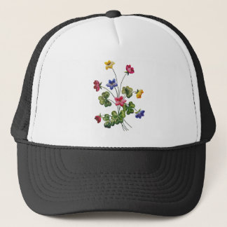 Beautiful Colorful Embroidered Wood Sorrel Trucker Hat