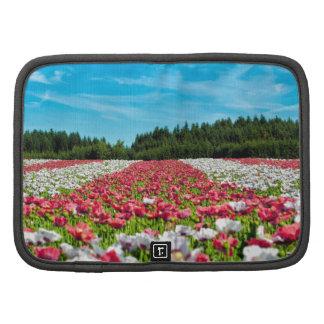 Beautiful colorful field of poppy flowers folio planners