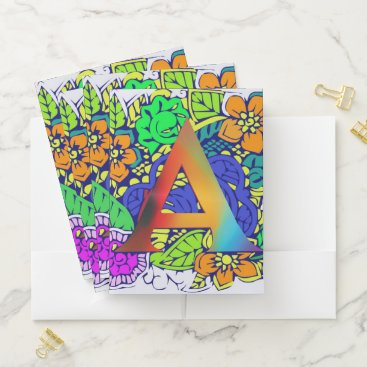 Beach Themed Beautiful colorful floral initial A flower pattern Pocket Folder