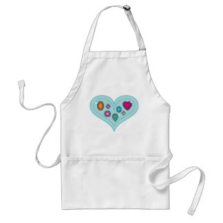 Beautiful Colorful Gems on Heart Apron
