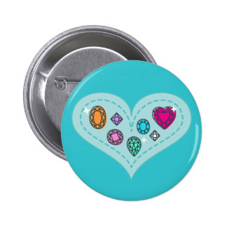 Beautiful Colorful Gems on Heart 2 Inch Round Button