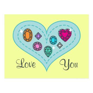 Beautiful Colorful Gems on Heart Postcard