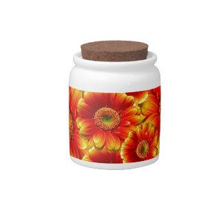 Beautiful colorful gerberas candy jars