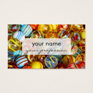 beautiful colorful glass marble balls photograph business card