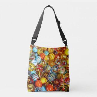 beautiful colorful glass marble balls photograph crossbody bag