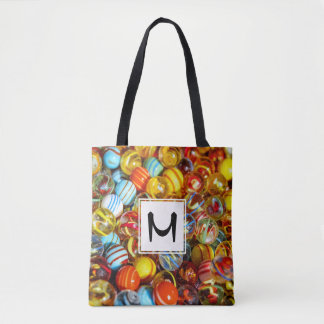 beautiful colorful glass marble balls photograph tote bag