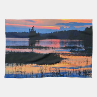 Beautiful colorful lake sunset hand towels