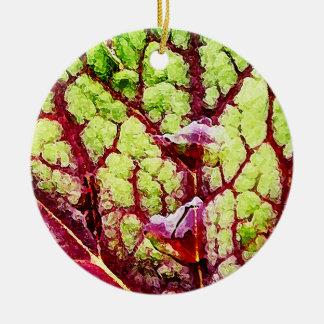 Beautiful Colorful Leaf with Raindrops Ceramic Ornament