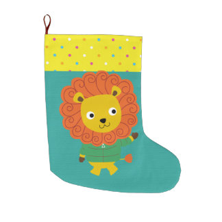 Beautiful Colorful Lion for Kids, Baby Large Christmas Stocking