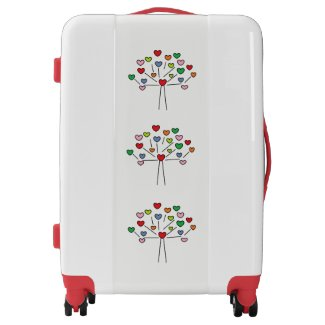 Colorful LOVE Hearts Tree Design Luggage