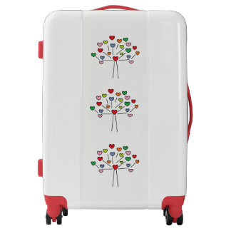 Beautiful Colorful LOVE Hearts Tree Design Luggage