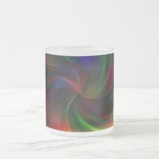 Beautiful colorful Swirl Pattern Frosted Glass Coffee Mug