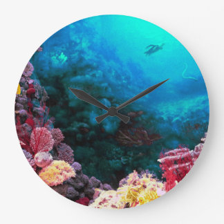 Beautiful Colorful Vibrant Unsersea Tropical Coral Large Clock